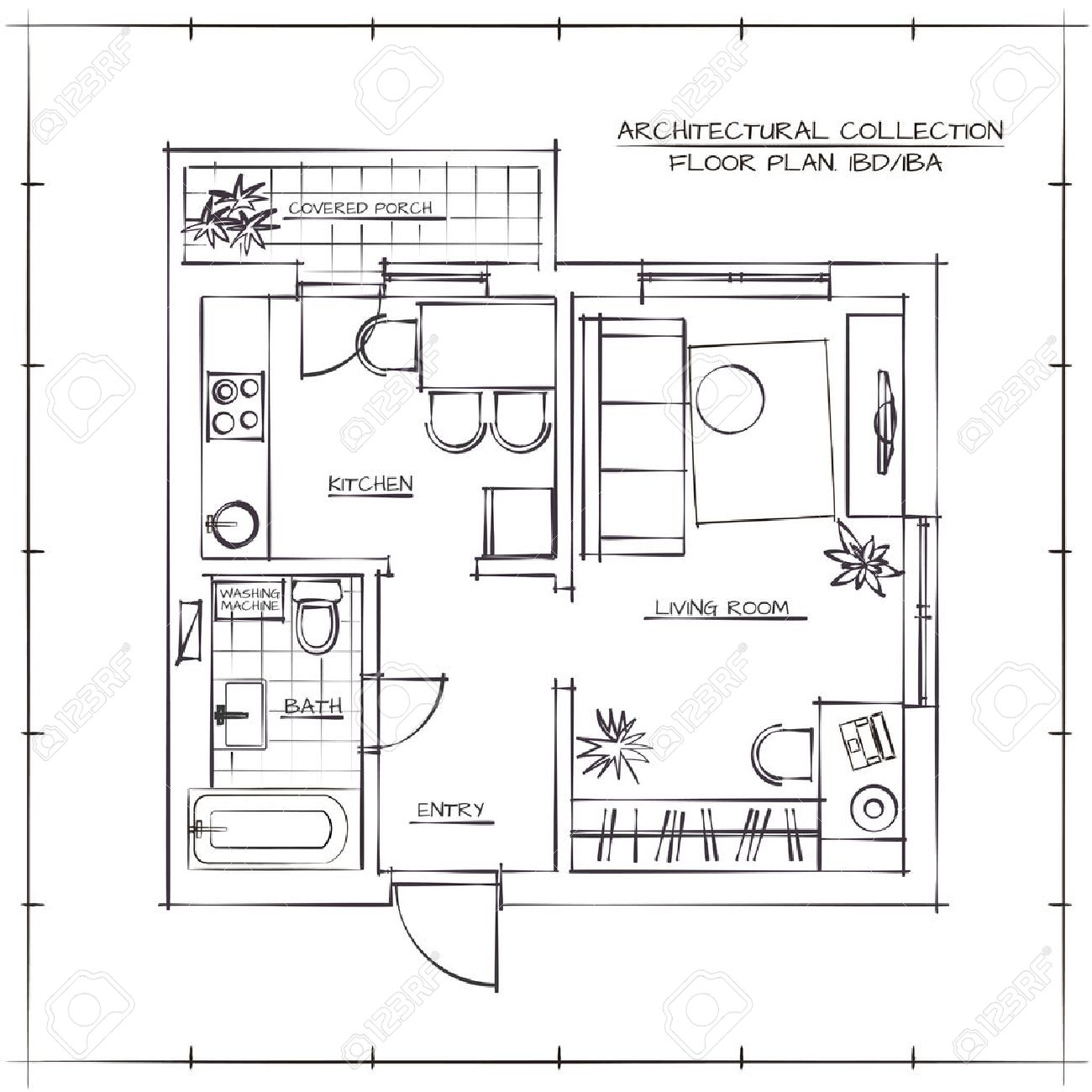 Architectural Hand Drawn Floor Plan.One Bedroom Apartment - 55412707