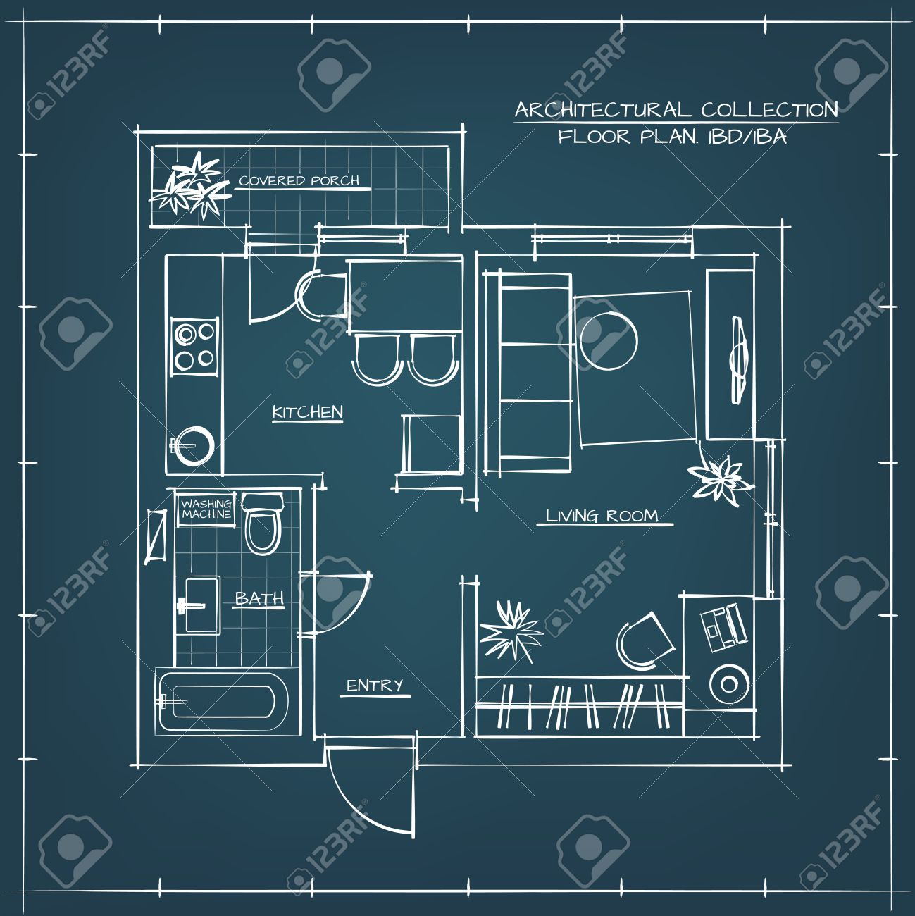 Architectural Hand Drawn Floor Plan Blueprint One Bedroom Apartment Royalty Free Cliparts Vectors And Stock Illustration Image 55412708