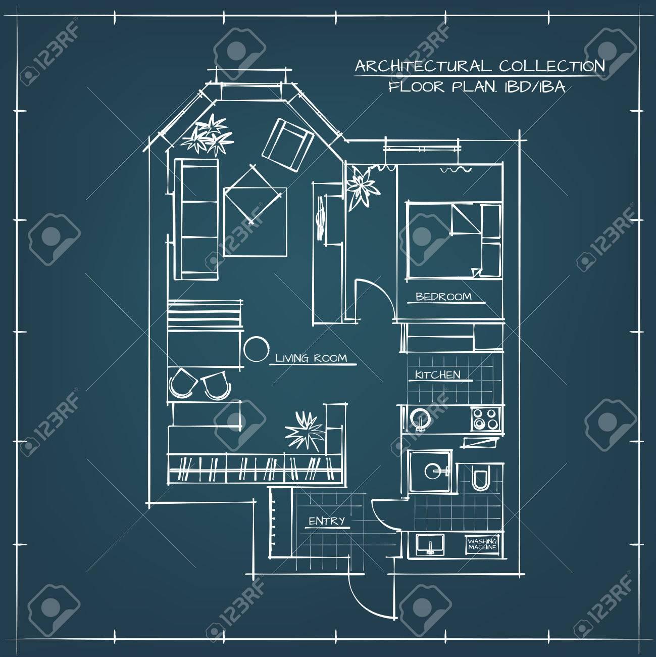 Architectural blueprint floor planudio apartment with one architectural blueprint floor planudio apartment with one bedroom stock vector 55412706 malvernweather Gallery