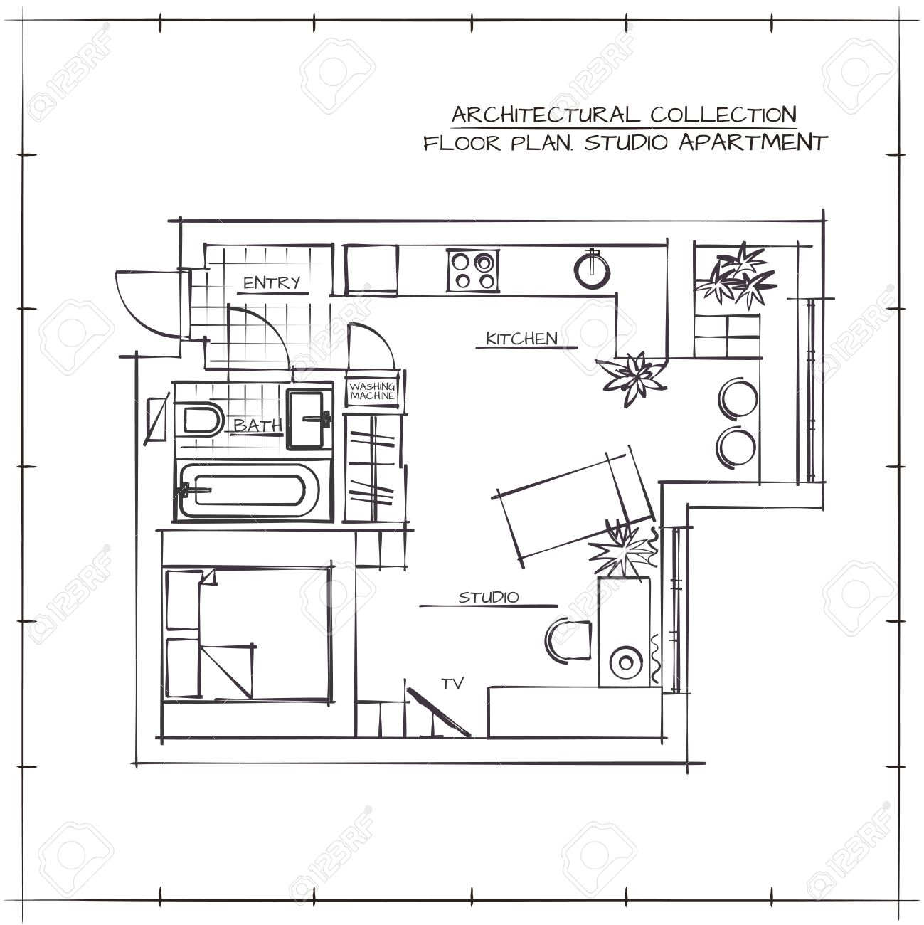 Architectural Hand Drawn Floor Plan. Studio Apartment Stock Vector    55412709