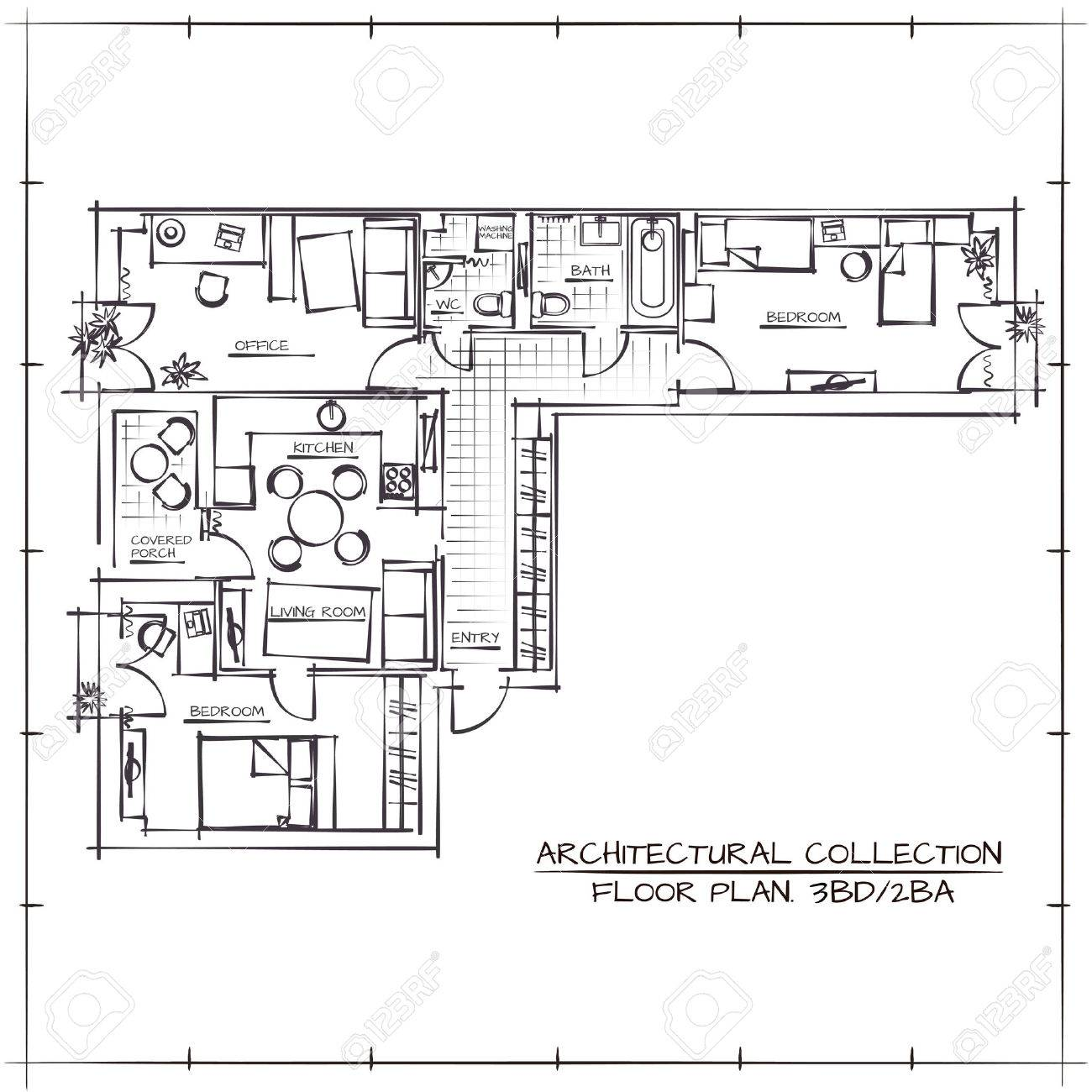 Architectural Hand Drawn Floor Plan Three Bedrooms Apartment