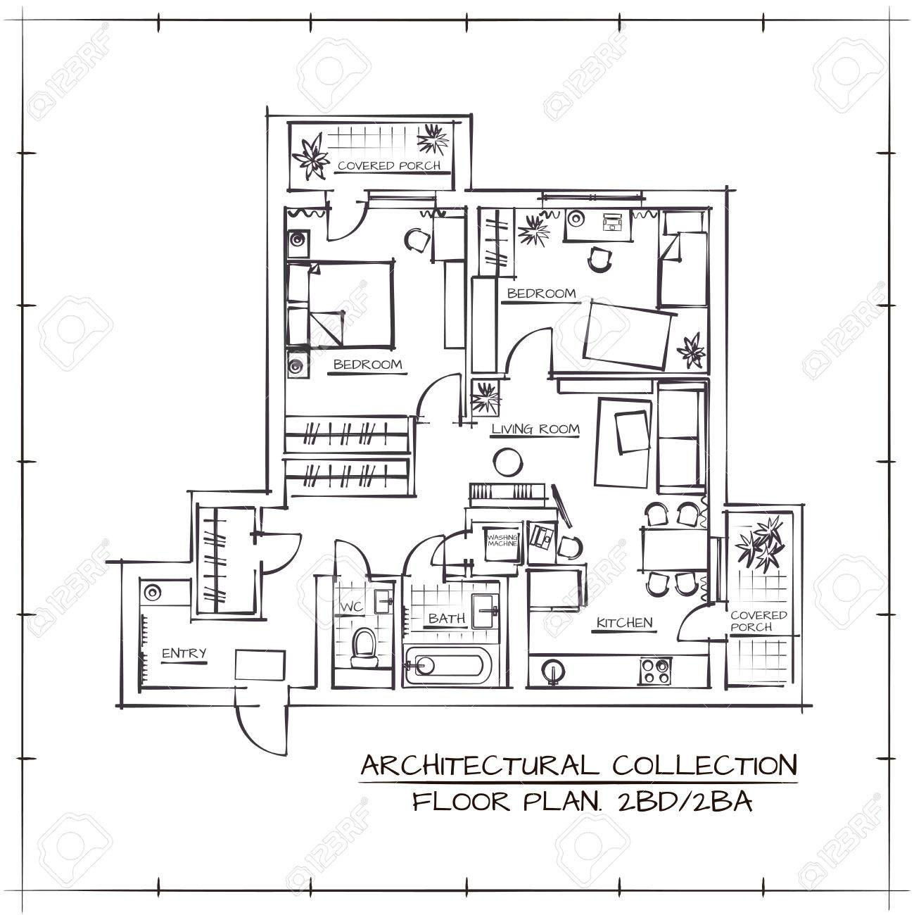 Architectural Hand Drawn Floor Plan.Two Bedrooms Apartment - 55412713