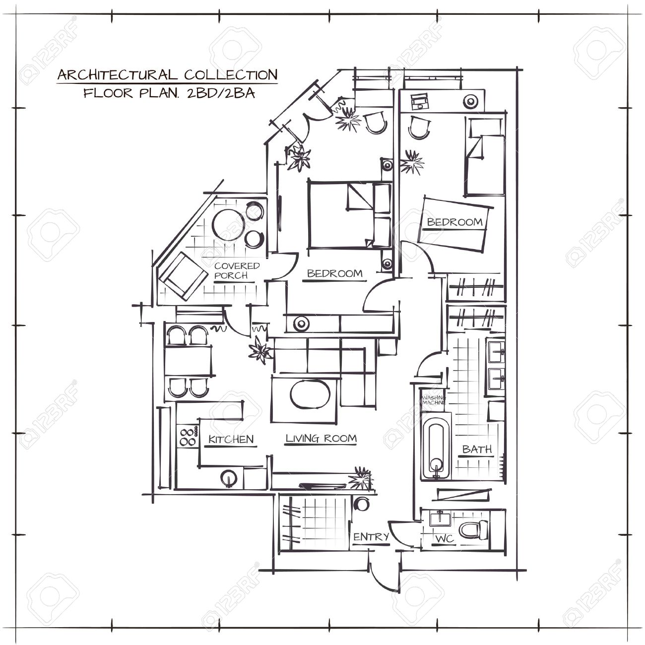 Architectural Hand Drawn Floor Plan.Two Bedrooms Apartment - 55412715