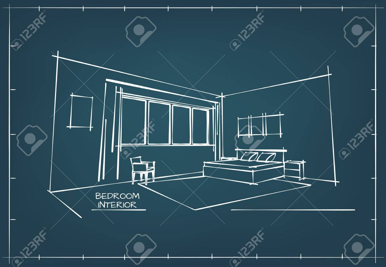 Blueprint sketch drawing of contemporary bedroom interior royalty blueprint sketch drawing of contemporary bedroom interior stock vector 56302120 malvernweather Image collections