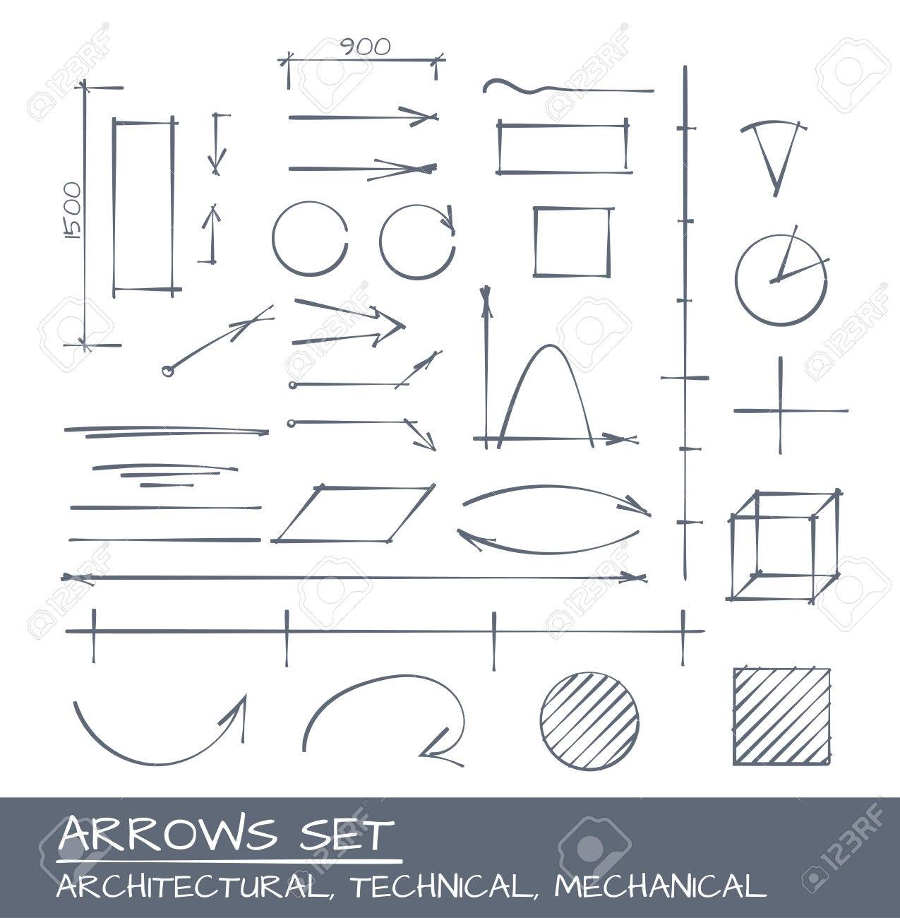Arrows set, vector drawing for mechanical, architecture and technical illustrarions - 56302206