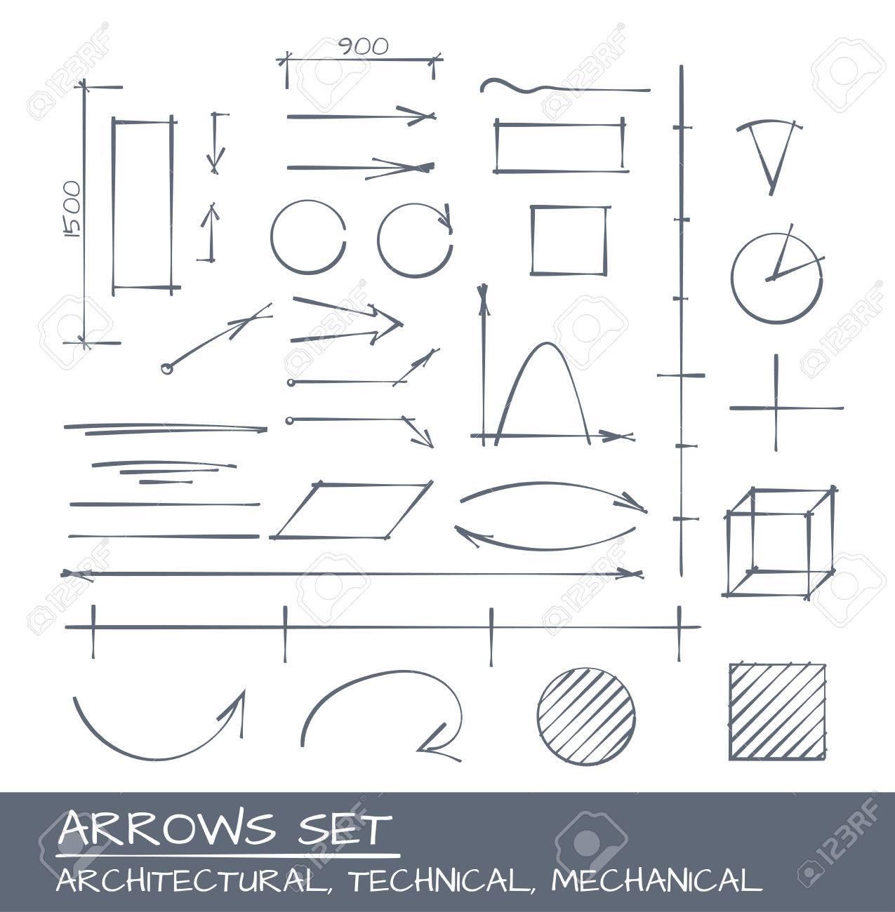 Pfeile Eingestellt, Vektor-Zeichenprogramm Für Mechanische ...