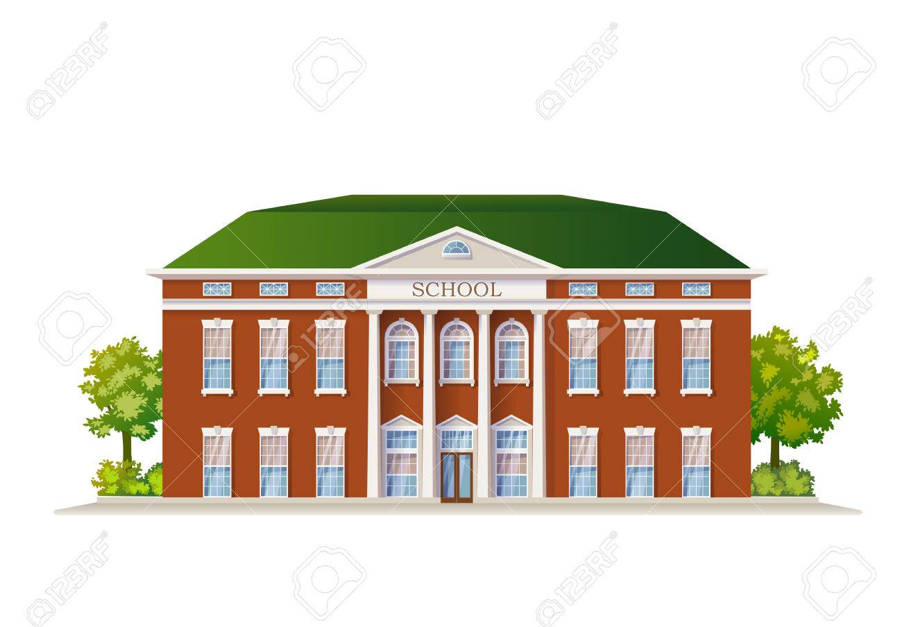 Vector Color Classic School Building Illustration Isolated On White - 58417988
