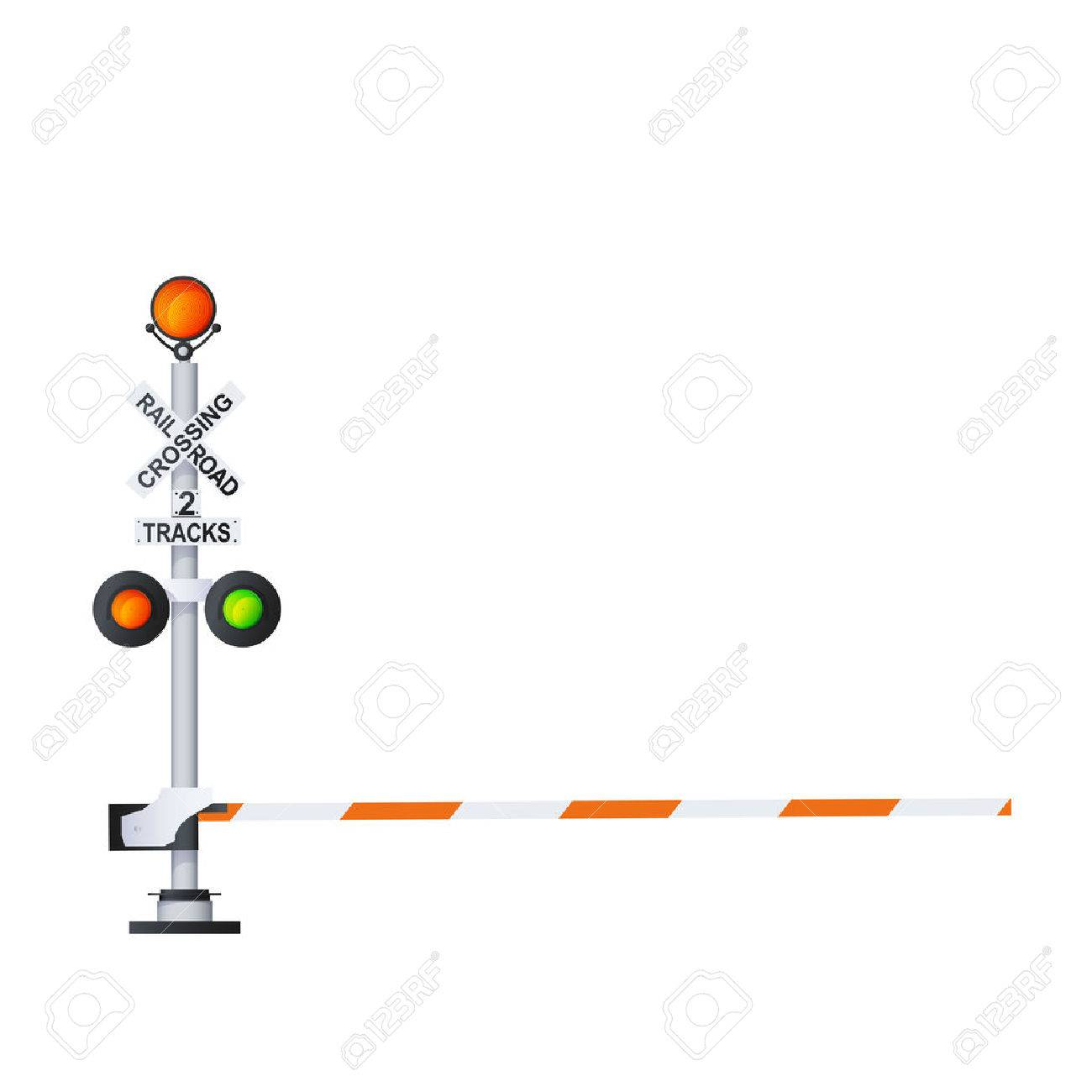 Railway Traffic Signal Color Vector Photo Realistic Illustration Isolated On White - 61706265