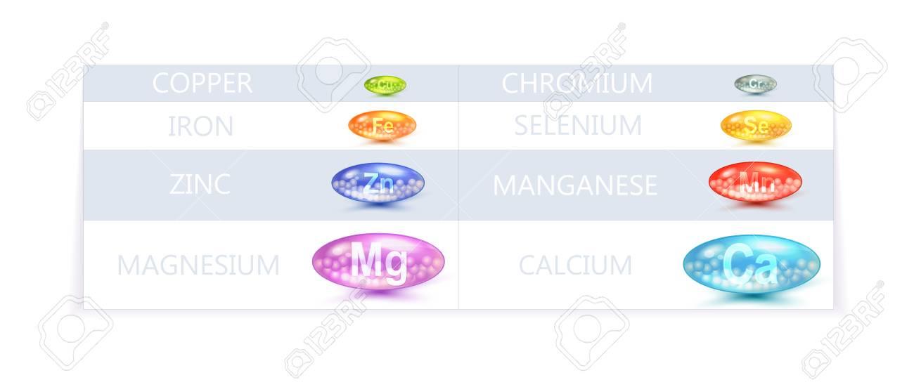 Bunte Vektor Tabelle Vorlage Von Diat Minerals Supplement Lizenzfrei