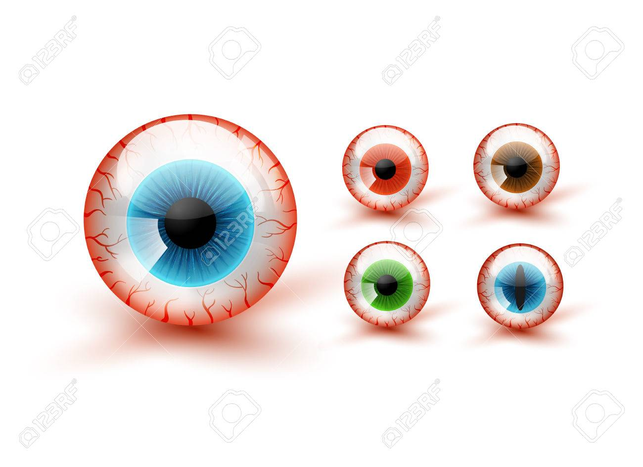 Scary Bloody Realistic Eyeballs. Vector Halloween Set - 68352311