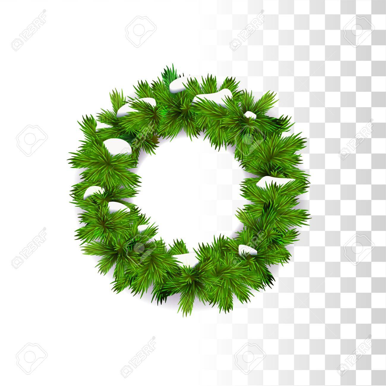Evergreen Traditional Christmas Wreath Decoration With Snow On