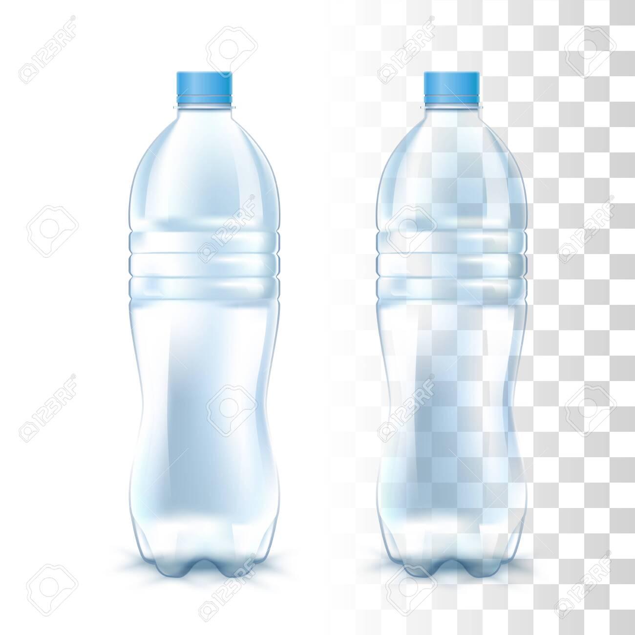 Clear Empty Transparent Plastic Bottle. 3d Vector Photo Realistic Mockup - 124295402