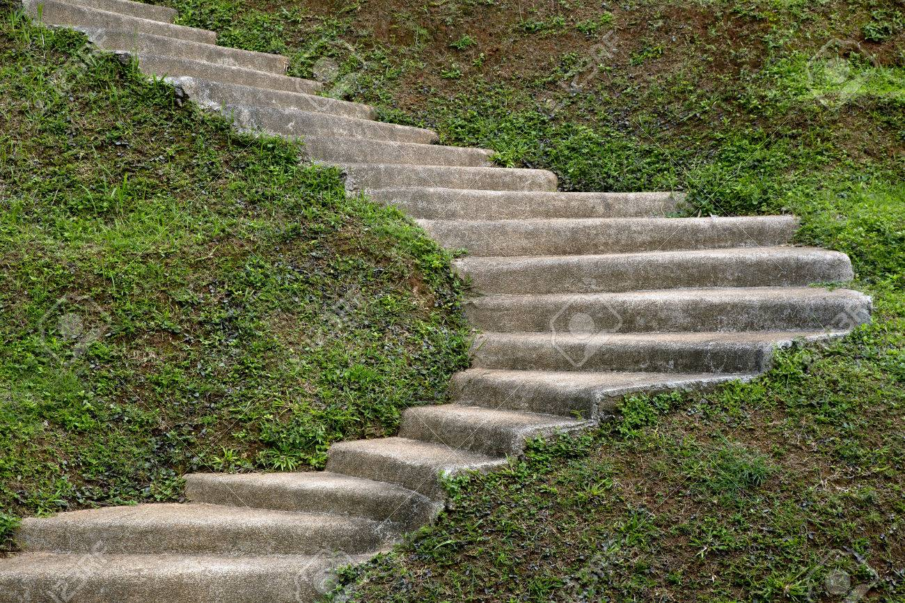 stein schritt treppe in den garten hügel lizenzfreie fotos, bilder