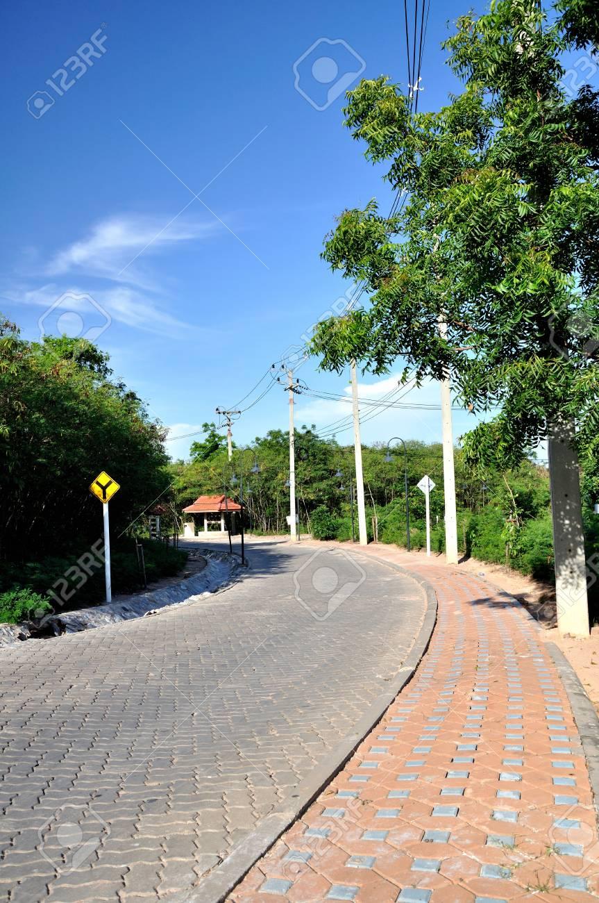 brick curve road in koh lahn, thailand Stock Photo - 10324952
