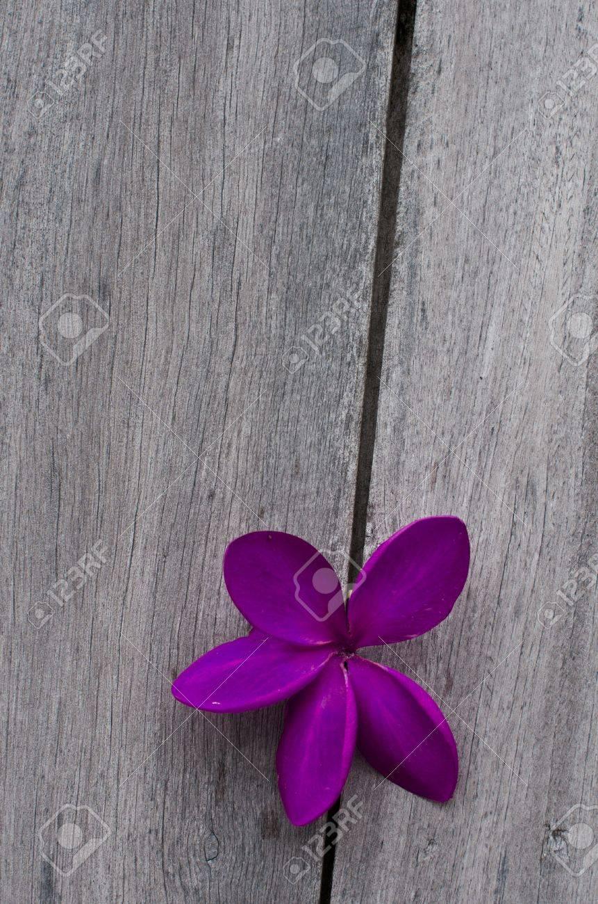 Purple flower on wood Stock Photo - 10702500