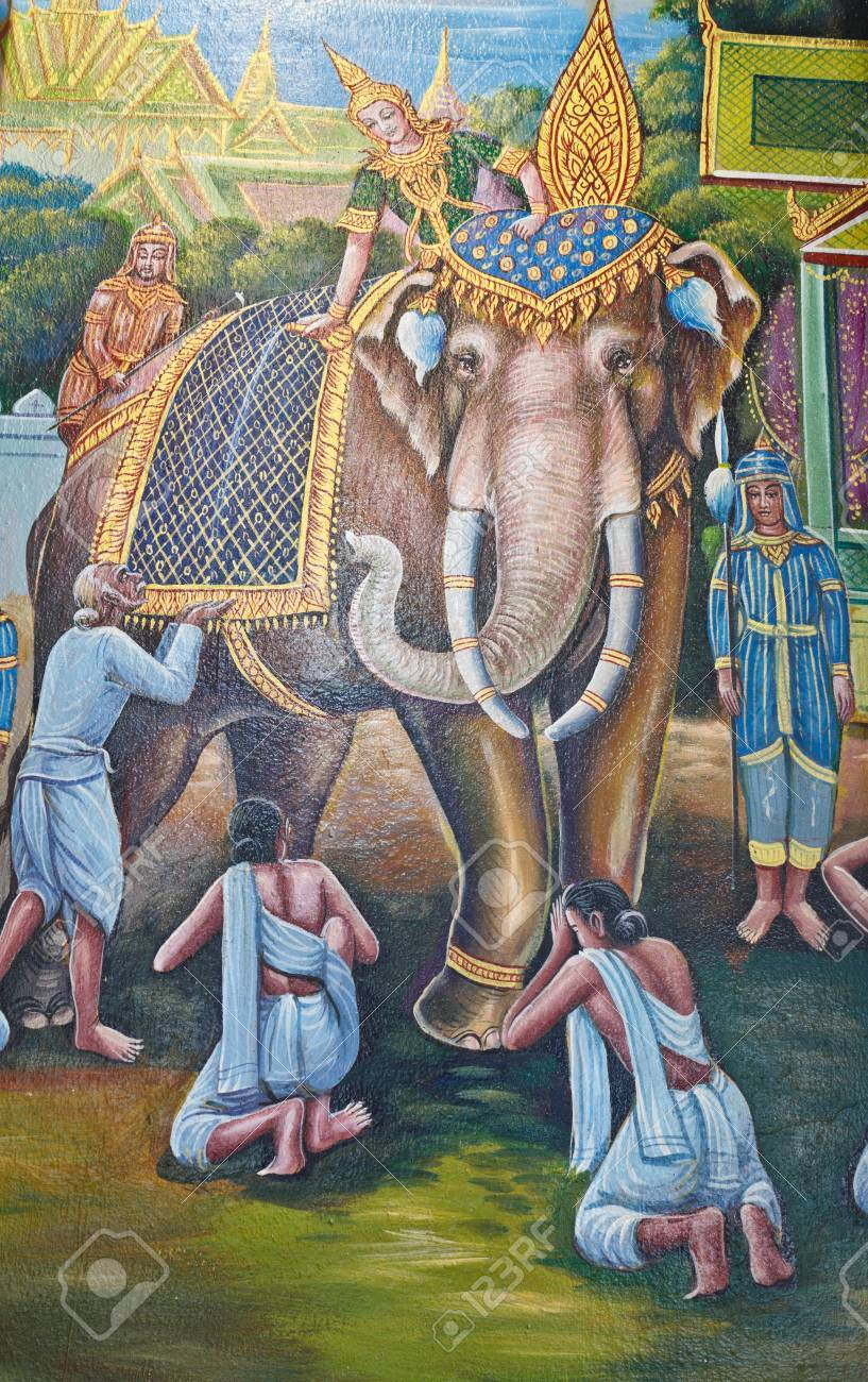 Art Thai Elephant Painting On Wall In Temple
