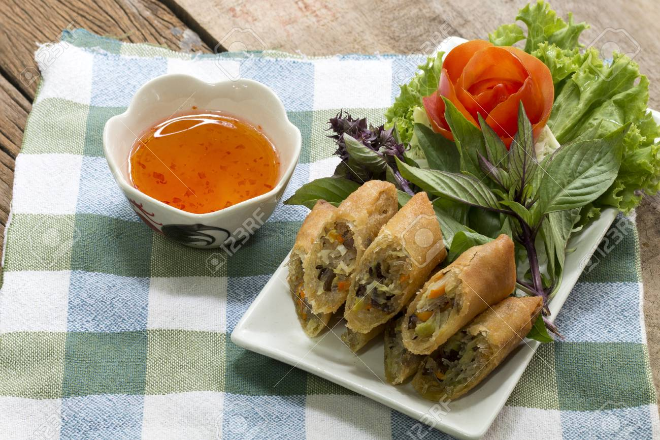 Thai Language Is Por Pieer Tod Thai Spring Roll On Wooden To Stock