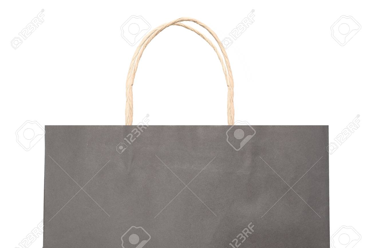 Black Paper Bag With Handles On A White Background Stock Photo