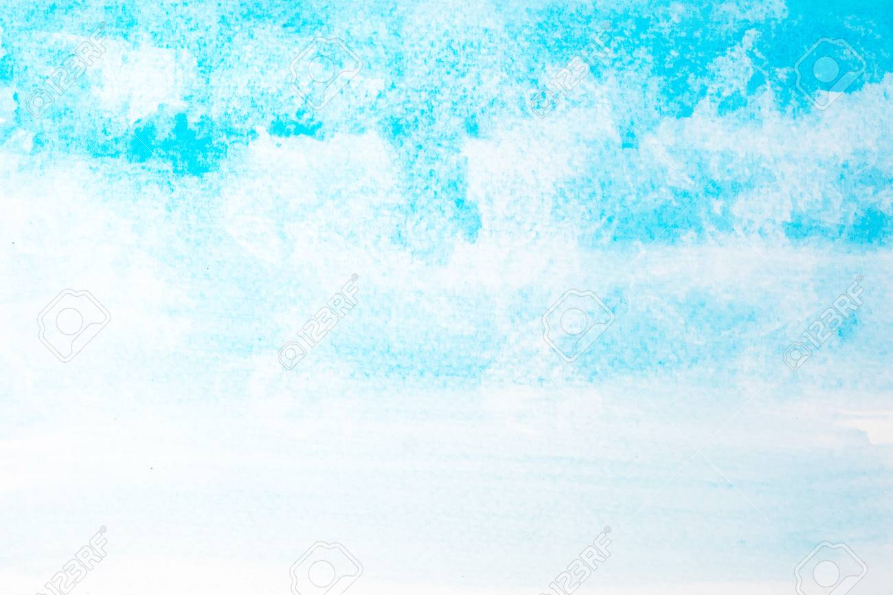 Abstract Beautiful Light Blue Watercolor And Texture Isolated