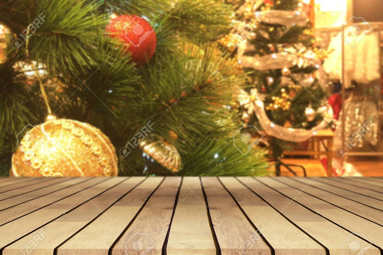 Coffee Christmas Tree.Perspective Empty Wooden Table And Christmas Tree With Snowing