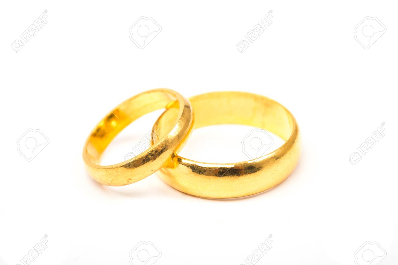 Valentines Day Concept Wedding Rings On White Background Stock