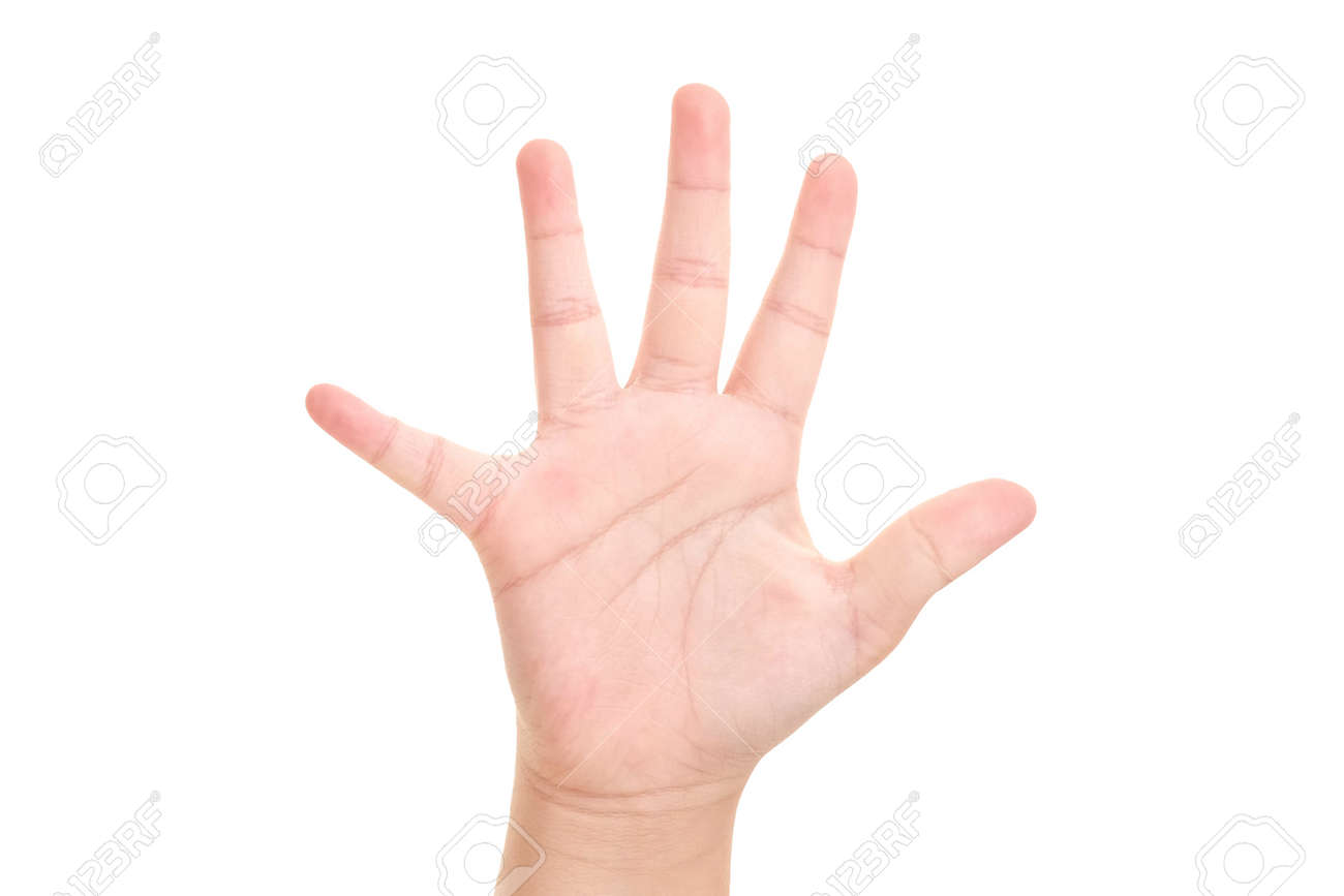 Boy's hand shown five finger symbol on isolated white background for graphic designer. - 157183939
