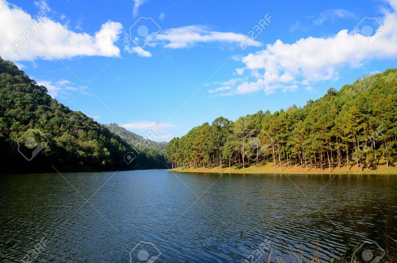 Beautiful forest lake in the morning Pang Ung  Mae Hong Son  Thailand Stock Photo - 17806751