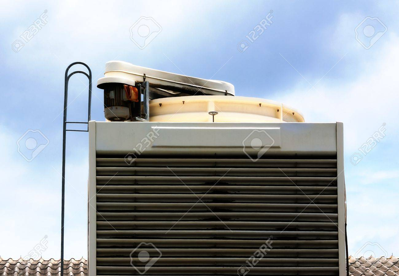 Industrial air conditioning unit cooling system on the roof of