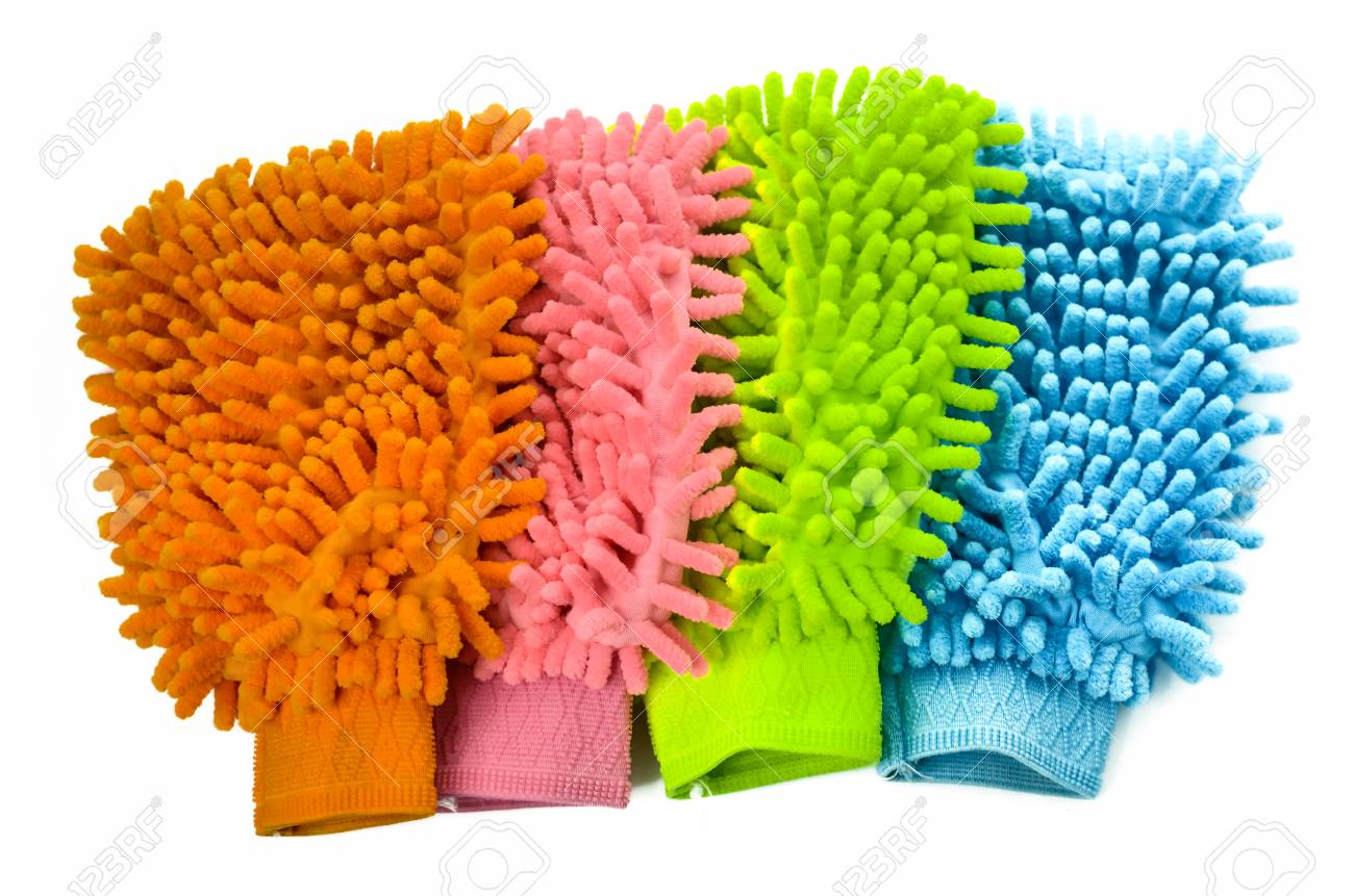 Glove colorful microfiber cleaning , on white background Stock Photo - 18233788