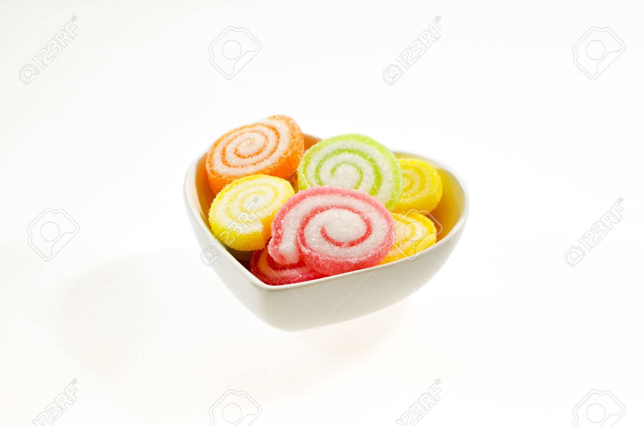 colorful sweet fruit jelly candy on white dish Stock Photo - 24055259