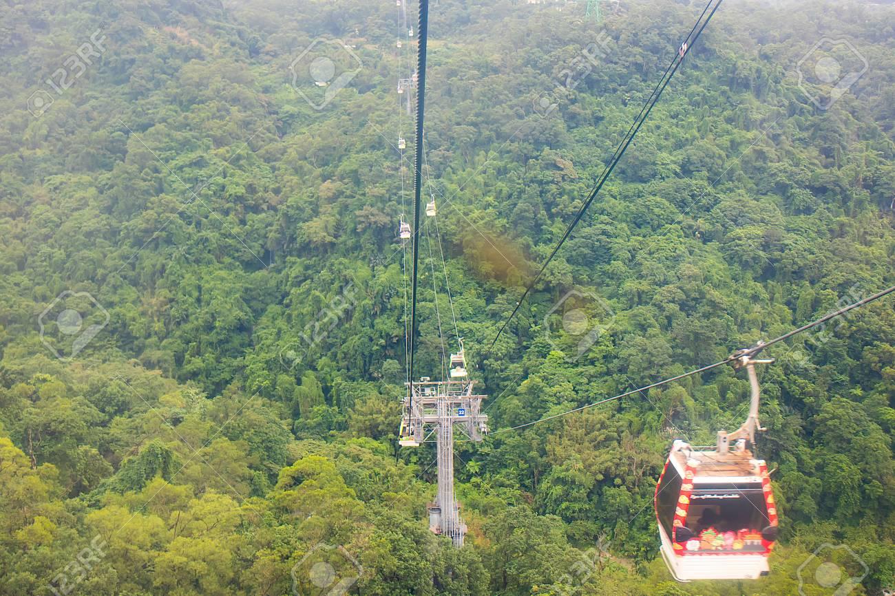 Taipei, Taiwan - Nov 15, 2017: Maokong Gondola cable car  Maokong