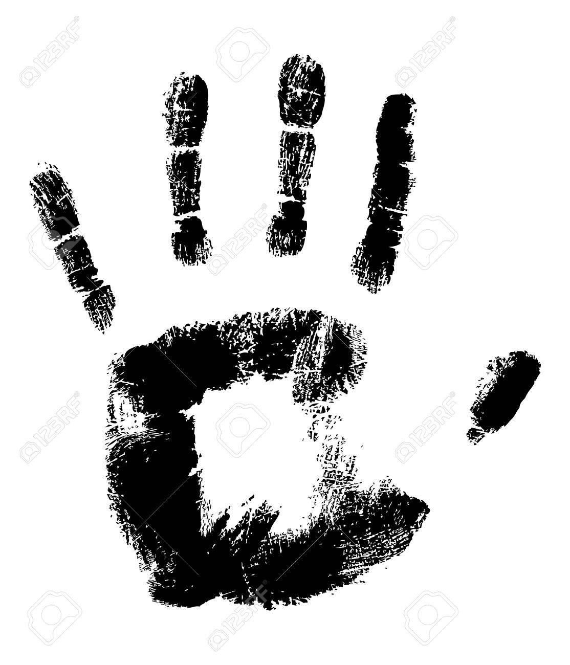 Black Handprint on White fully editable vector illustration Stock Vector - 3063592
