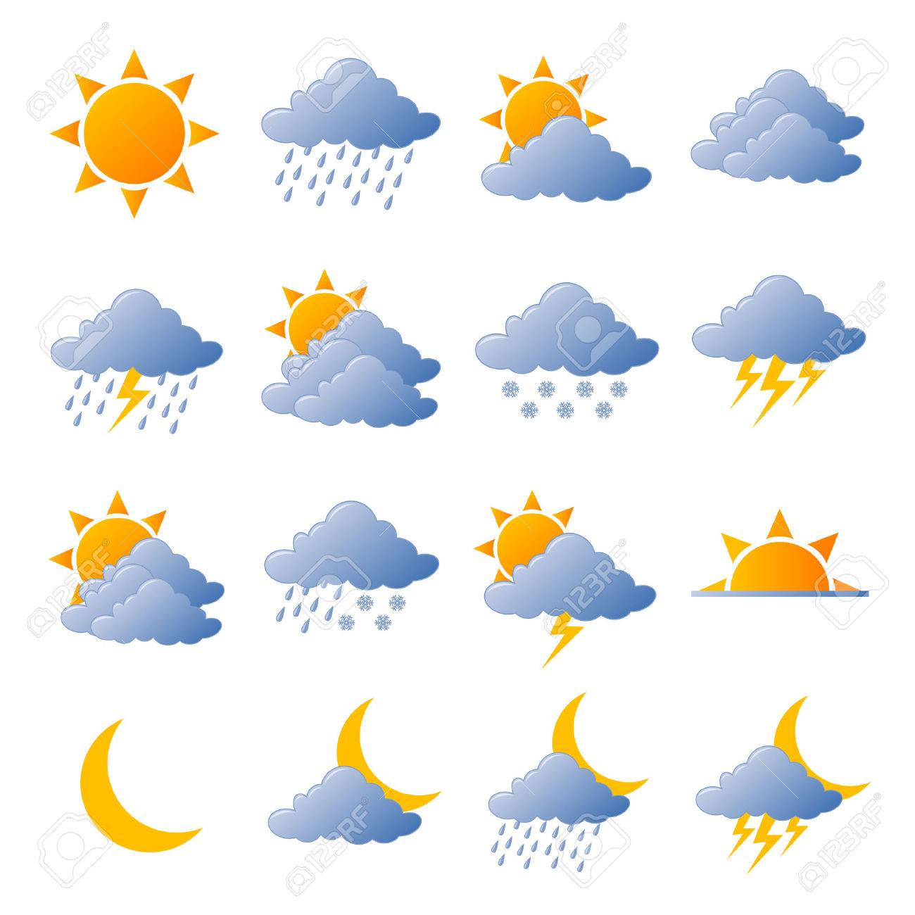 Weather icons fully editable vector illustration Stock Vector - 3063593