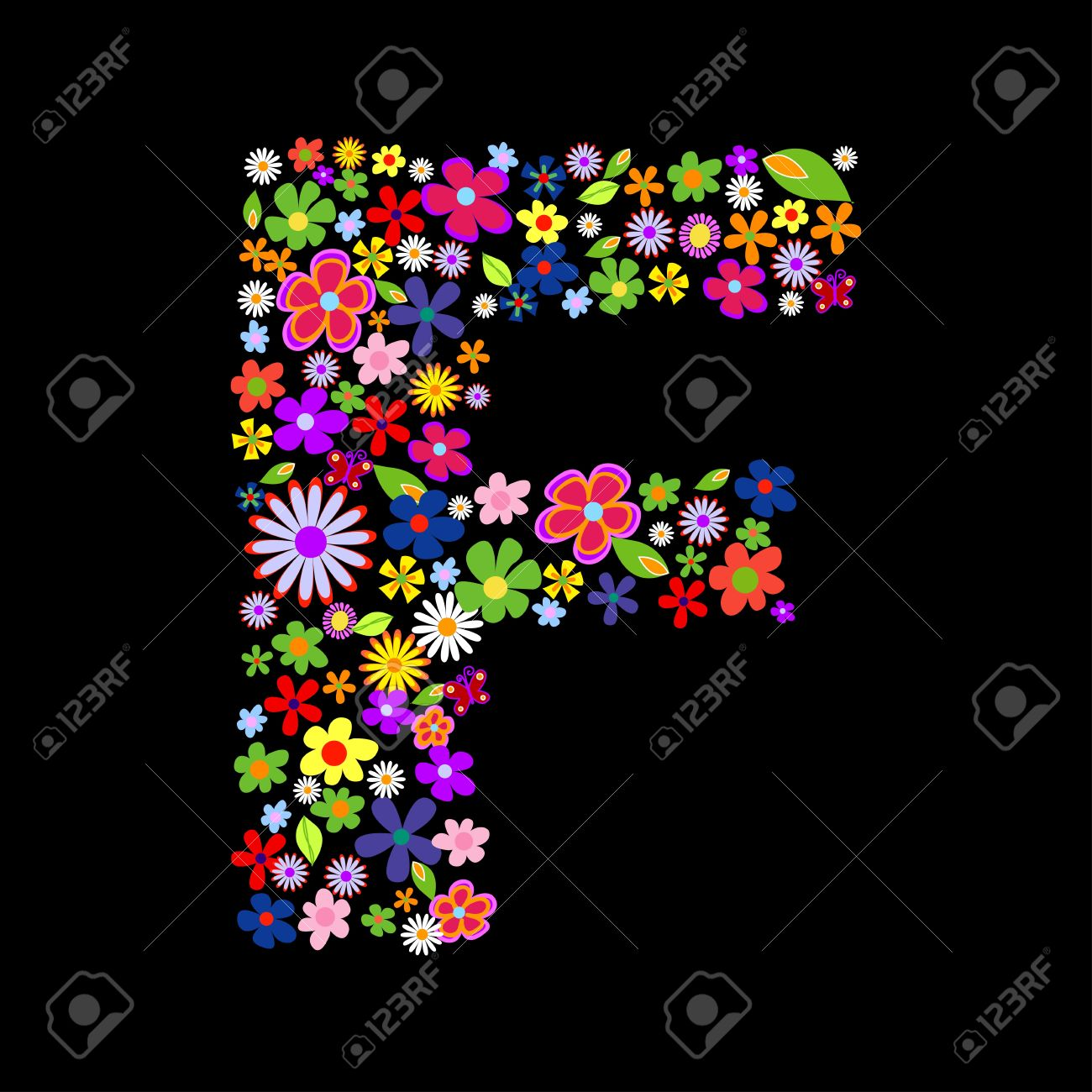 Flower Font Letter F Royalty Free Cliparts Vectors And Stock