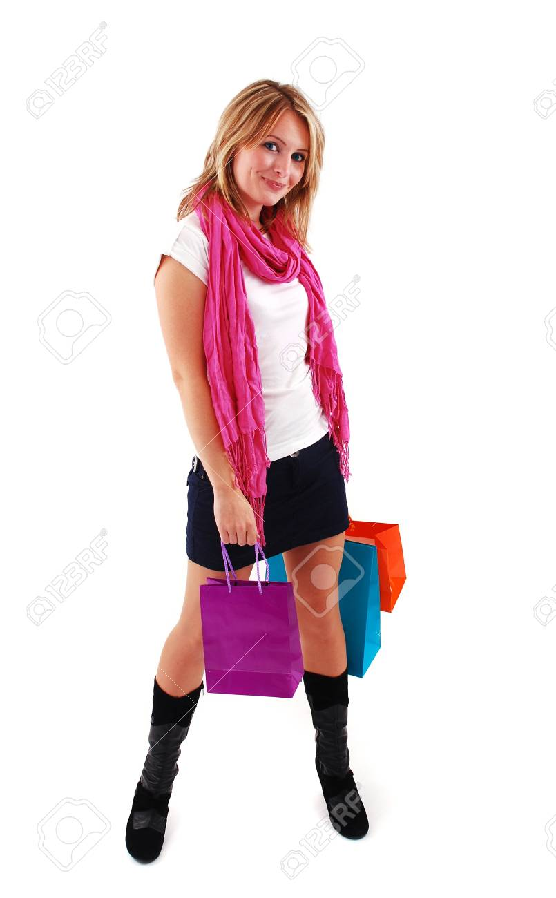 Sexy shopping girl isolated on white background Stock Photo - 9061540