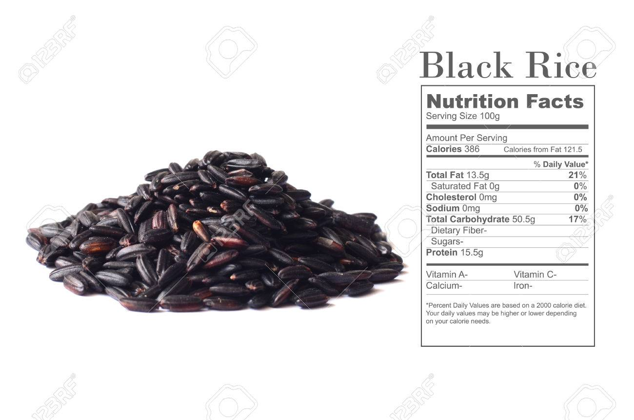 Uncooked Black Rice With Nutrition Facts On White Background Stock Photo Picture And Royalty Free Image Image 53771388