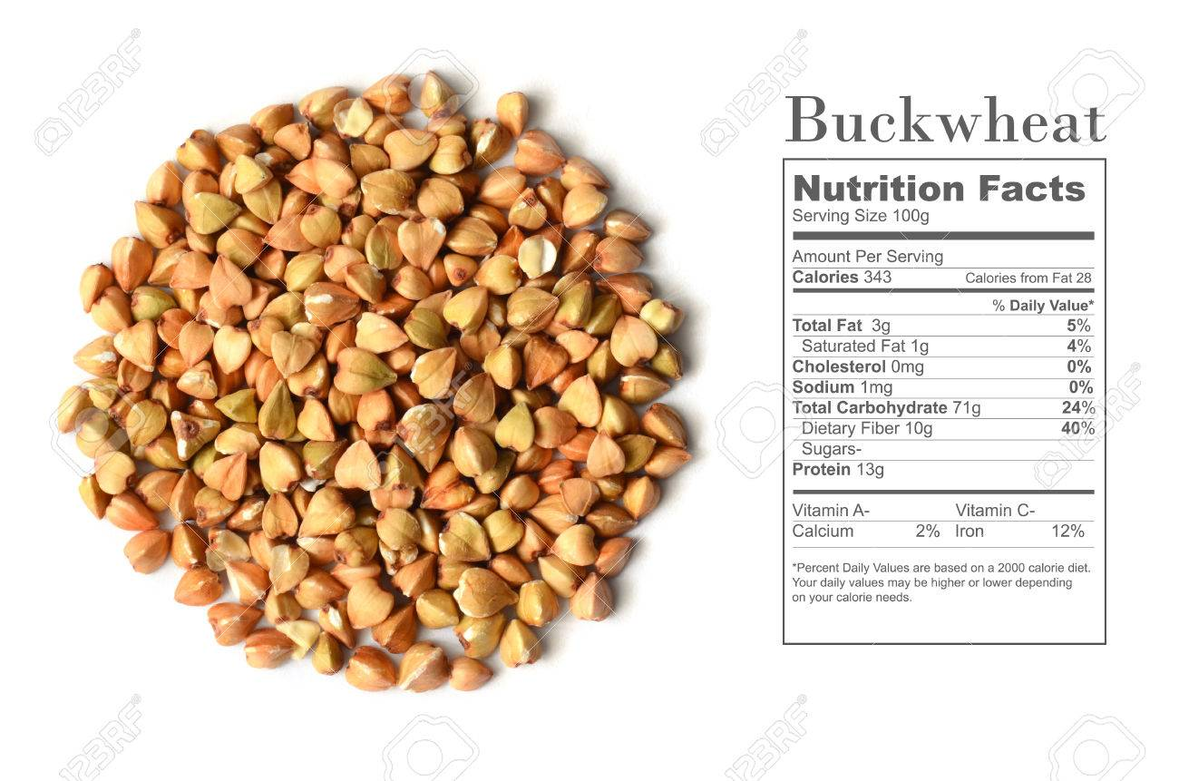 Uncooked Buckwheat Seeds With Nutrition Facts On White Background Stock Photo Picture And Royalty Free Image Image 53771477