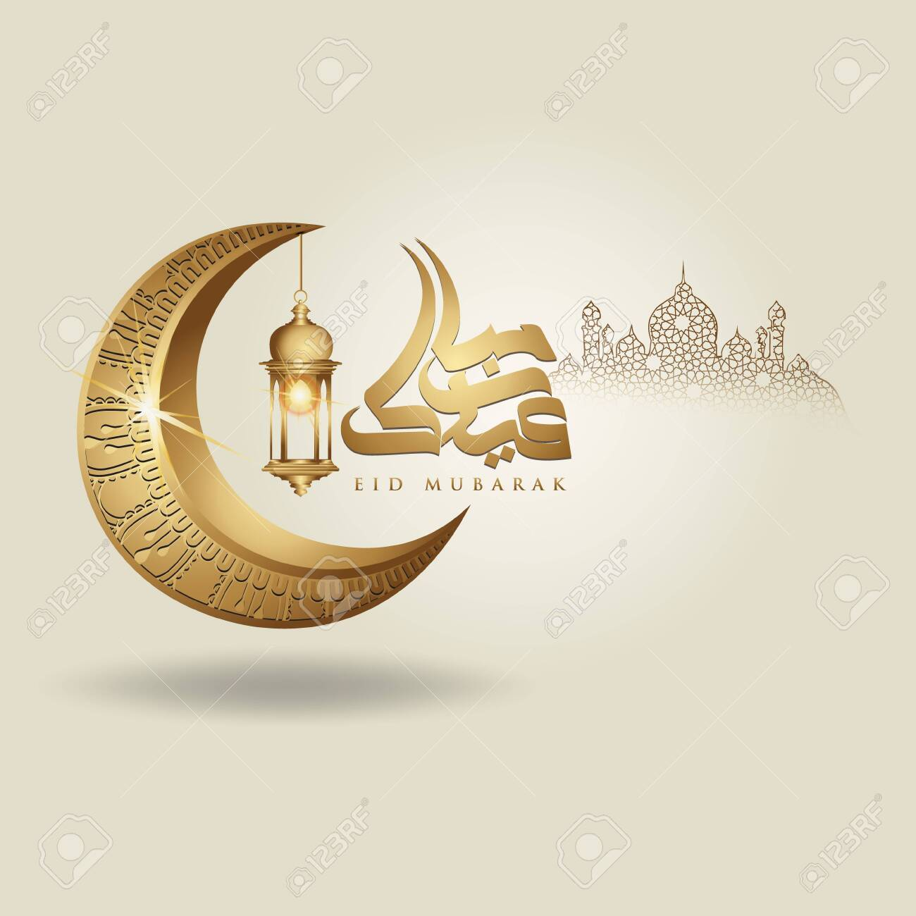 Eid Mubarak islamic design crescent moon, traditional lantern and arabic calligraphy, template islamic ornate greeting card vector for publication event - 122203094