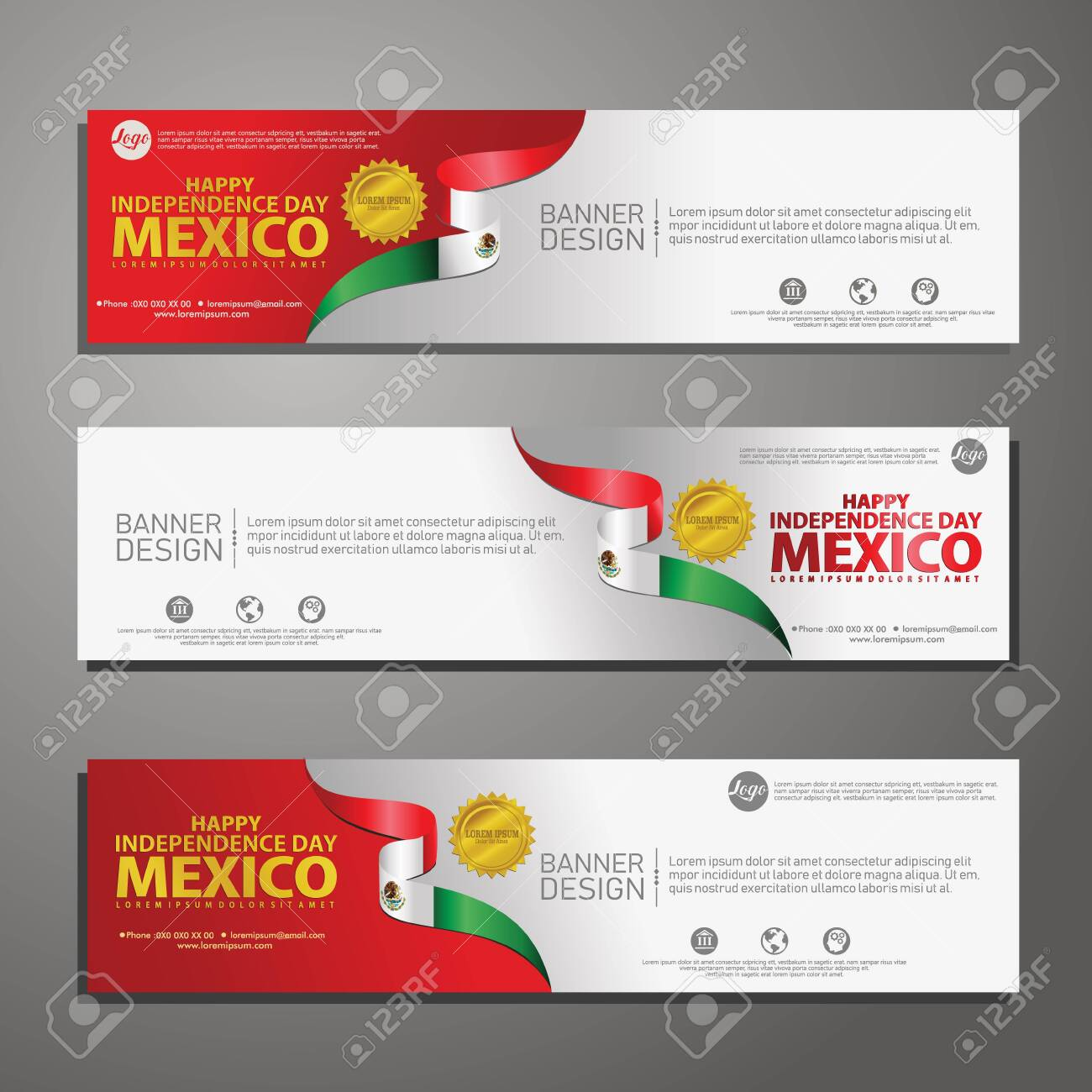 Happy Mexico Independence Day Banner And Background Set For Royalty Free Cliparts Vectors And Stock Illustration Image 130405639