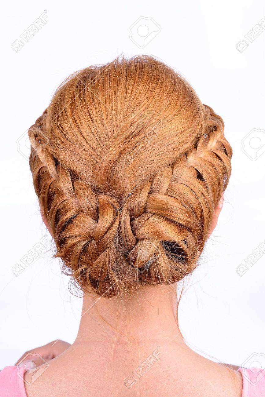 Rear view of coiffure from pigtails Stock Photo - 20534108