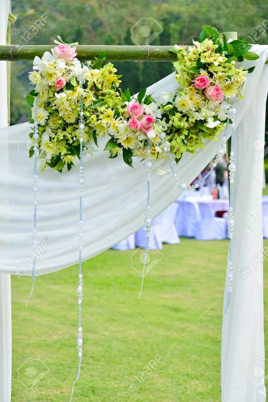 White Flowers Decorations During Outdoor Wedding Ceremony Stock Photo Picture And Royalty Free Image Image 20533962