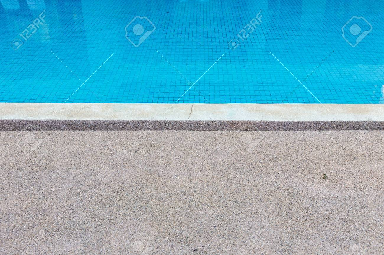 Blue Tile Floor Under Water Of Swimming Pool Texture Stock Photo