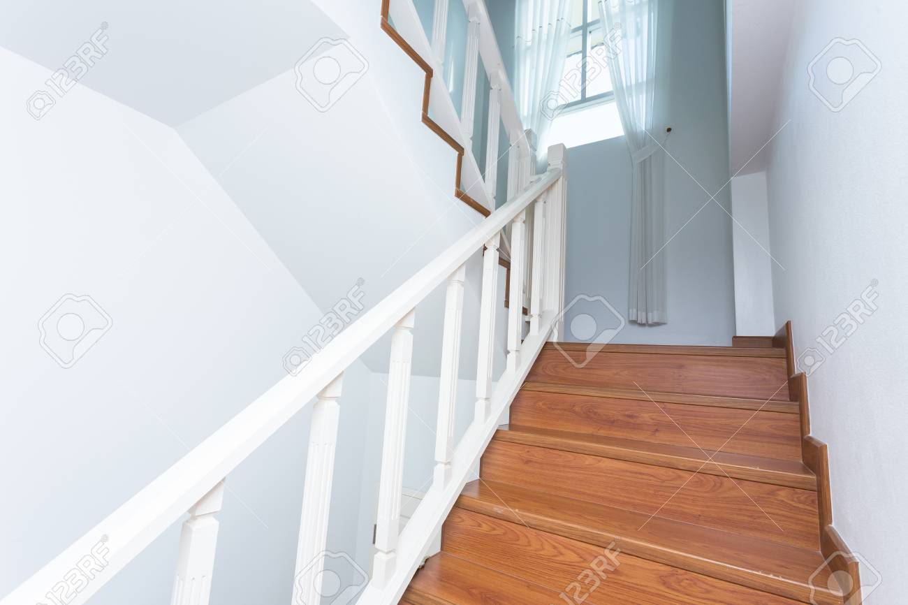 Wooden Staircase Made From Laminate Wood In White Modern House Stock Photo Picture And Royalty Free Image Image 34268727