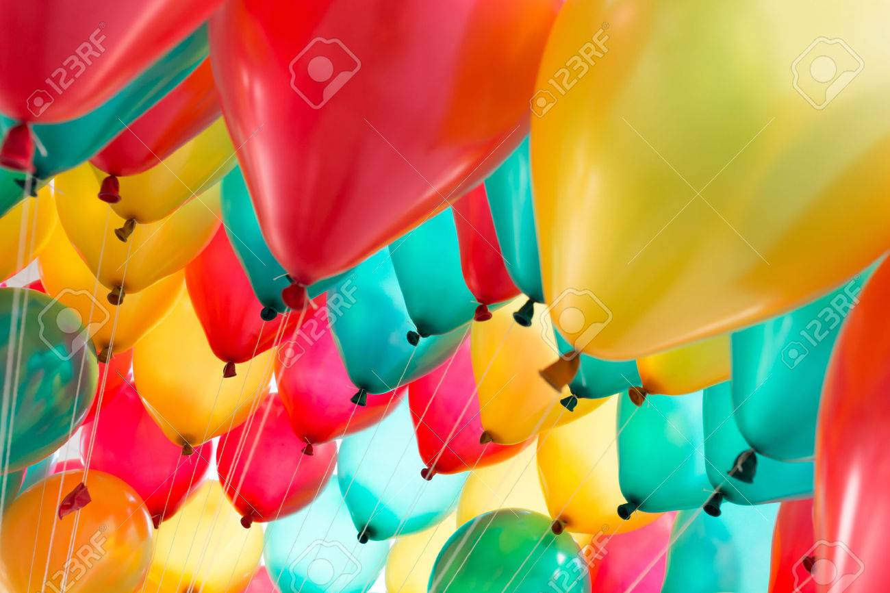 colorful balloons with happy celebration party background Stock Photo - 36167695