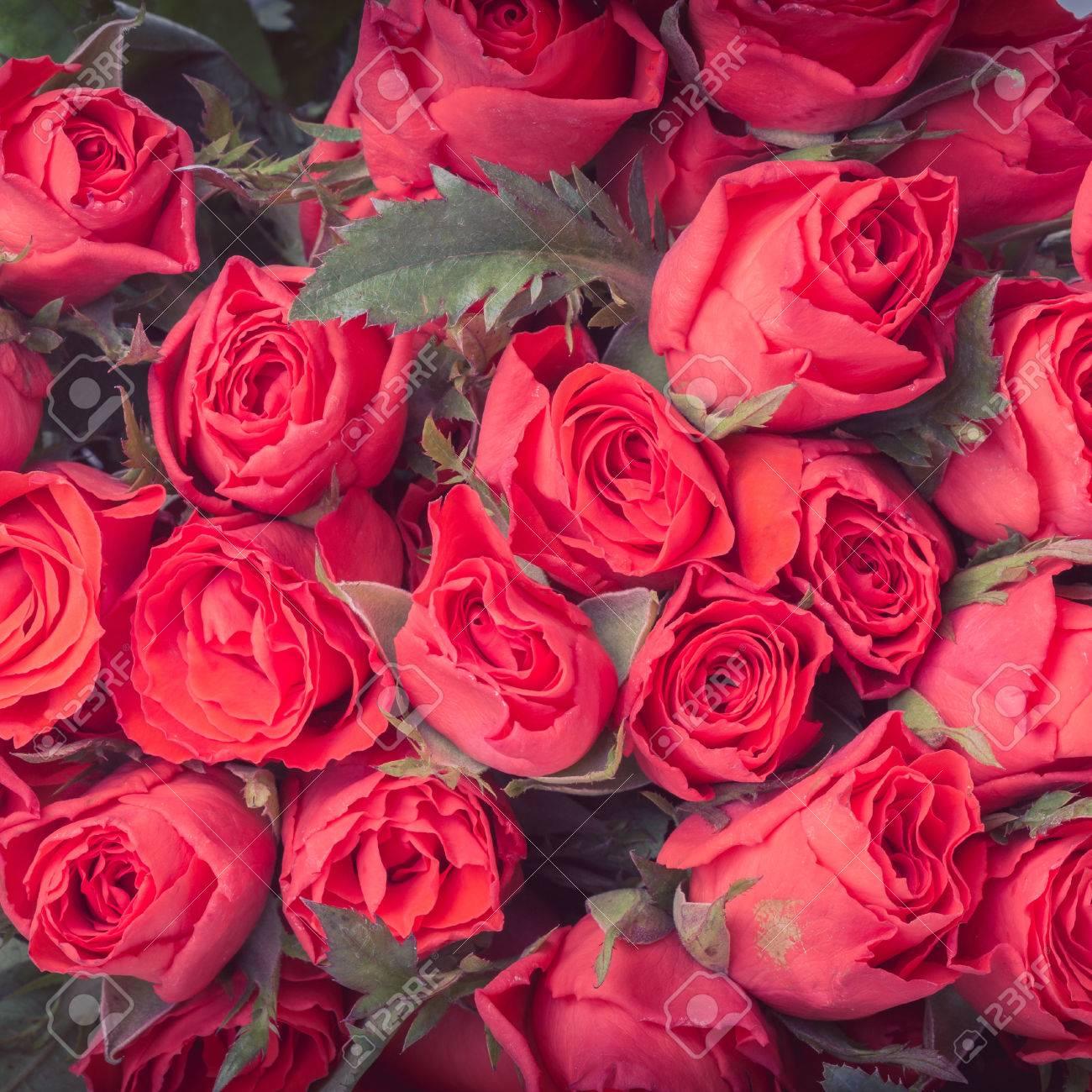 赤いバラの花ブーケ ビンテージ背景 の写真素材 画像素材 Image