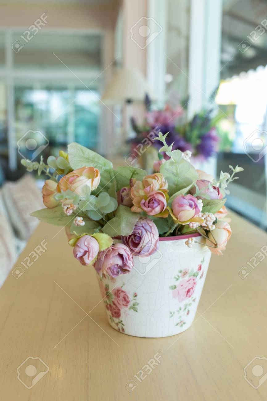Flowers Vase Decoupage Decorated On Wooden Table At Living Room Stock Photo Picture And Royalty Free Image Image 44406646