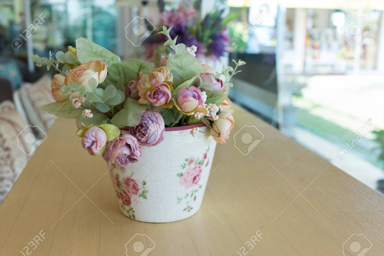 Flowers Vase Decoupage Decorated On Wooden Table At Living Room Artificial In Stock