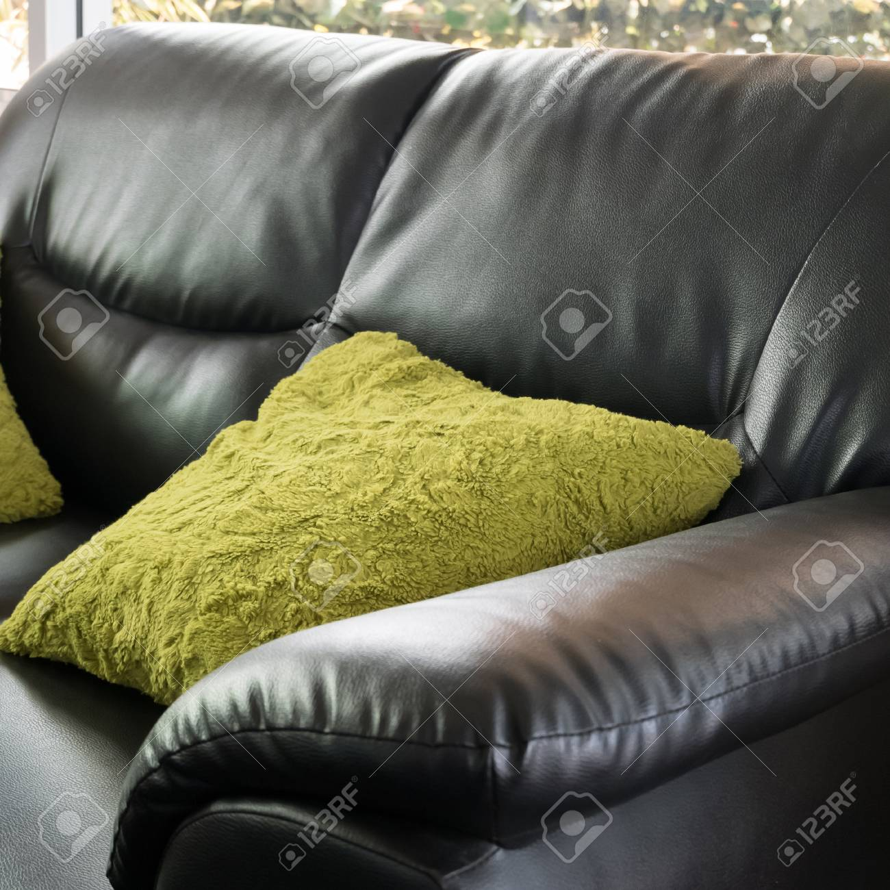 Superb Black Leather Sofa Furniture With Green Pillow In Livingroom Gamerscity Chair Design For Home Gamerscityorg