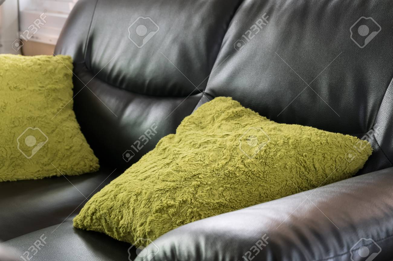 Amazing Black Leather Sofa Furniture With Green Pillow In Livingroom Gamerscity Chair Design For Home Gamerscityorg