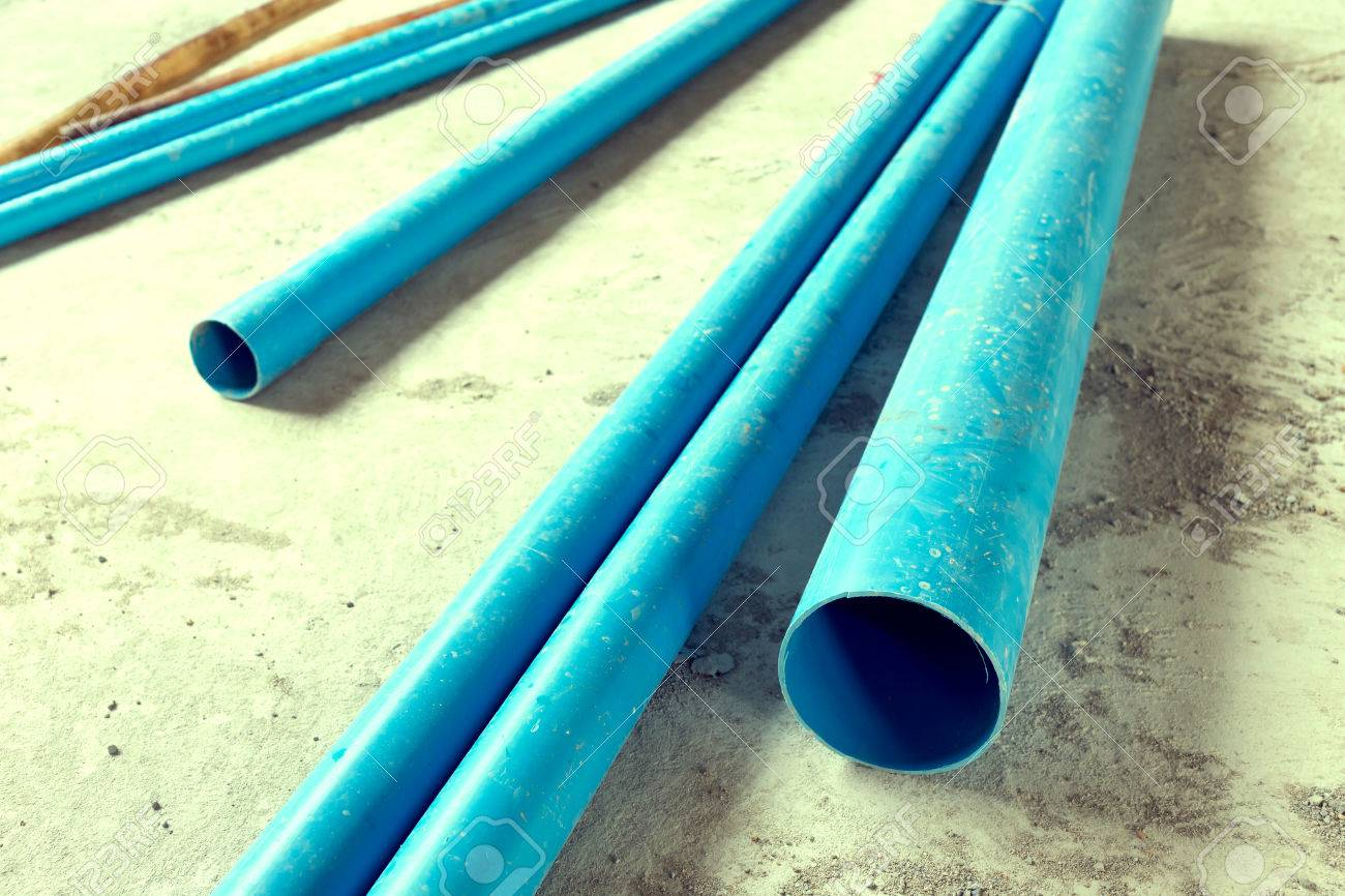 Water Pipes Pvc Plumbing In Construction Site Building, Image ...